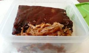 Leftover pulled pork and ribs from Red Hot & Blue