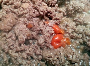 Browned ground beef with scotch bonnet