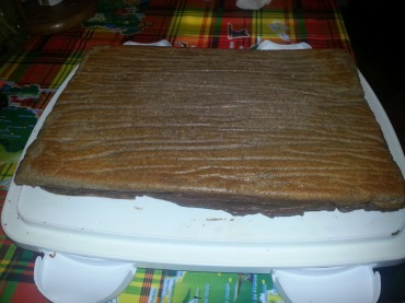 Remove wrappings and place on serving plate before making the ganache